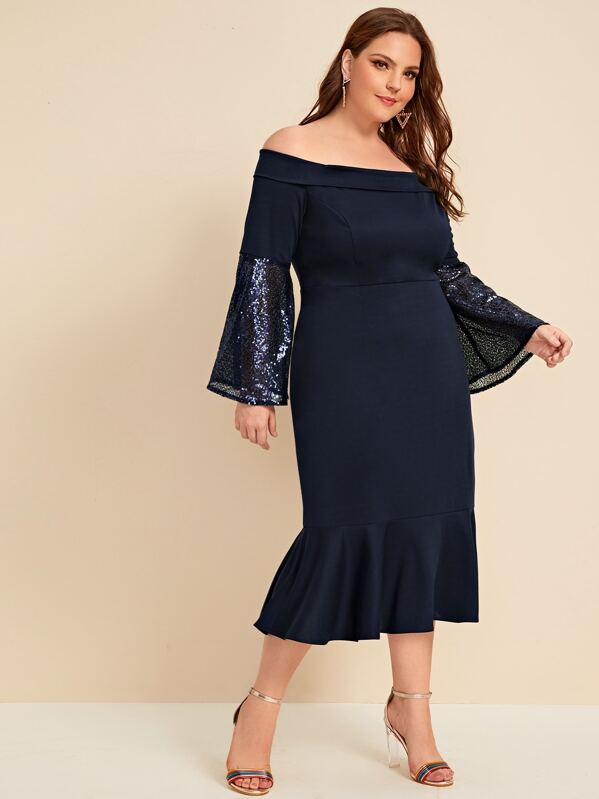 Plus Size Contrast Sequins Off Shoulder Fishtail Dress