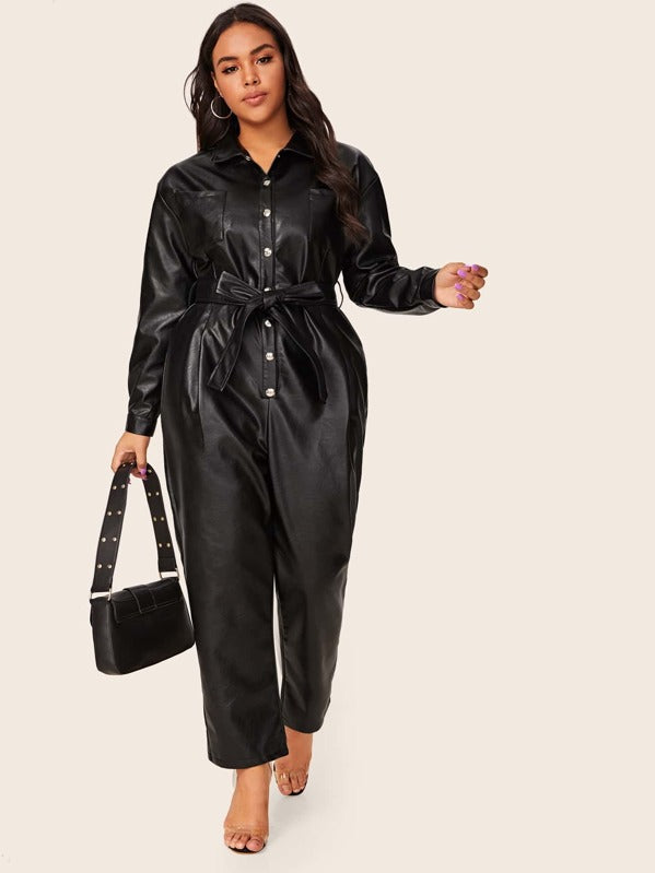 Plus Size Button Up Belted PU Jumpsuit