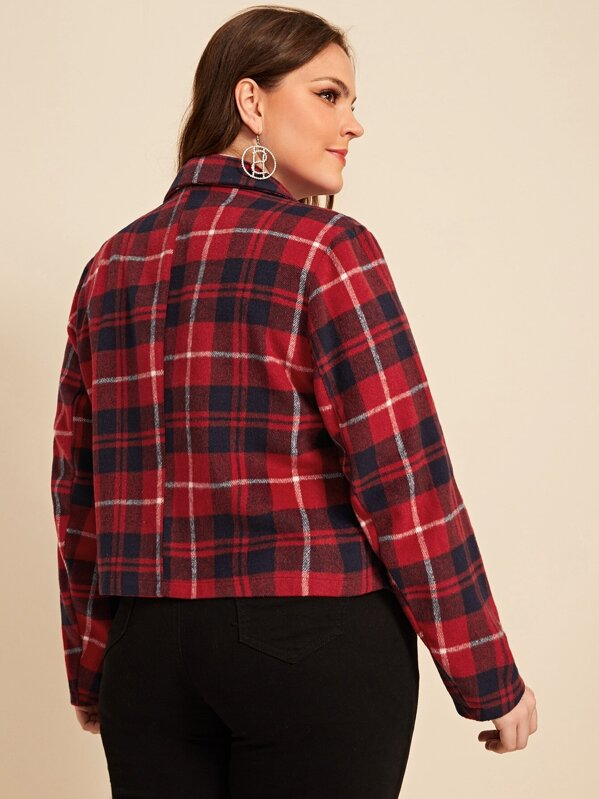 Plus Size Tartan Print Single Button Blazer Top