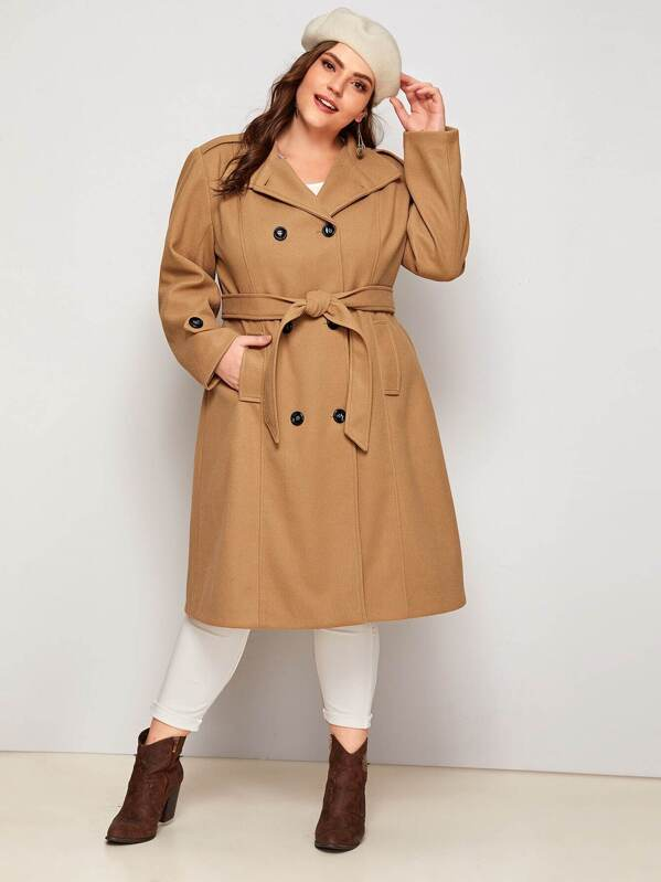Plus Size Double Breasted Belted Pea Coat Top
