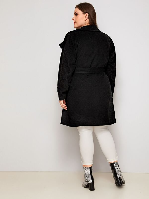 Plus Size Double Breasted Belted Waterfall Pea Coat Top