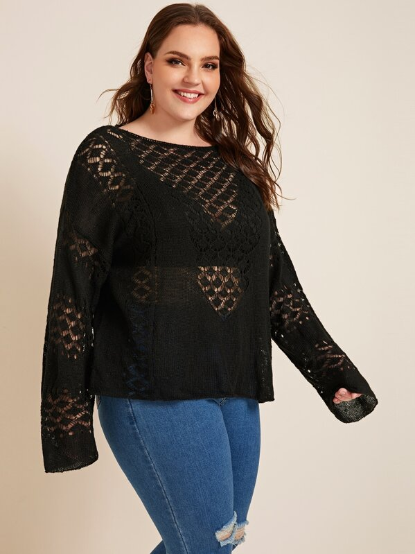 Plus Size Pointelle Knit Boat Neck Sweater Top