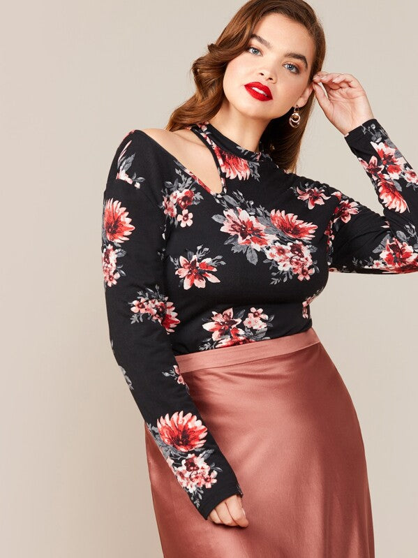 Plus Size Cutout Shoulder Floral Print Top