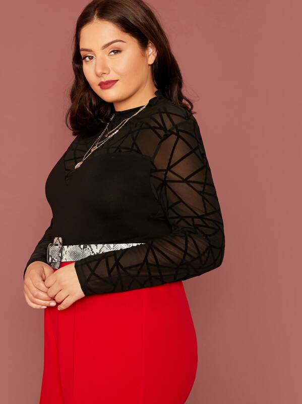 Plus Size Geo Mesh Sheer Yoke Top