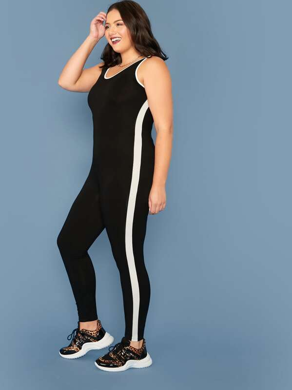 Plus Size Striped Side Contrast Binding Tank Jumpsuit