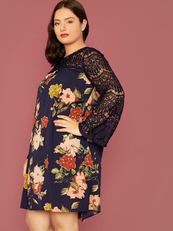 Plus Size Lace Yoke Floral Print Tunic Dress