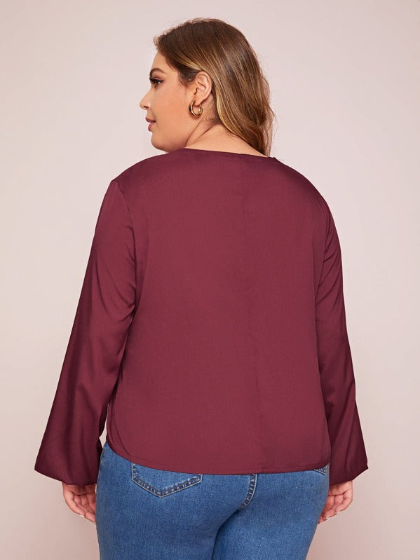 Plus Size Lace Up Front Bishop Sleeve Blouse Top