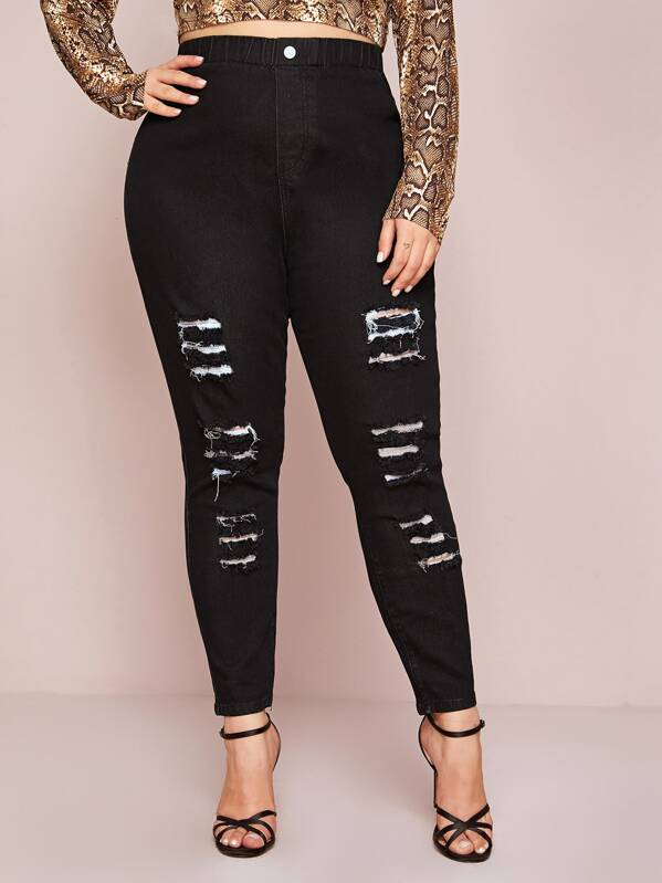 Plus Size Ripped High Waist Jeans