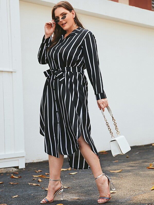Plus Size Striped Curved Hem Belted Shirt Dress