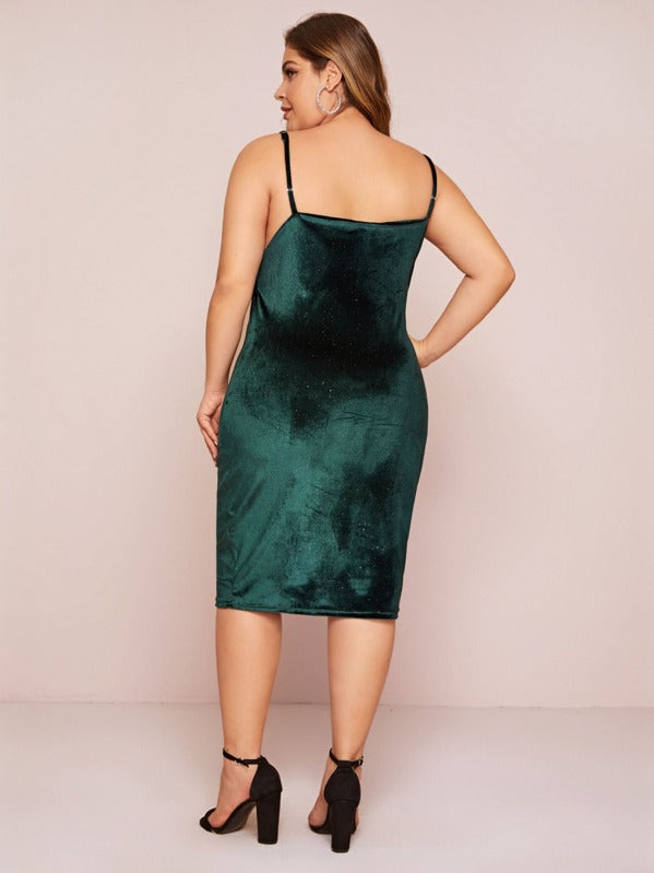 Plus Size Draped Neck Velvet Cami Dress