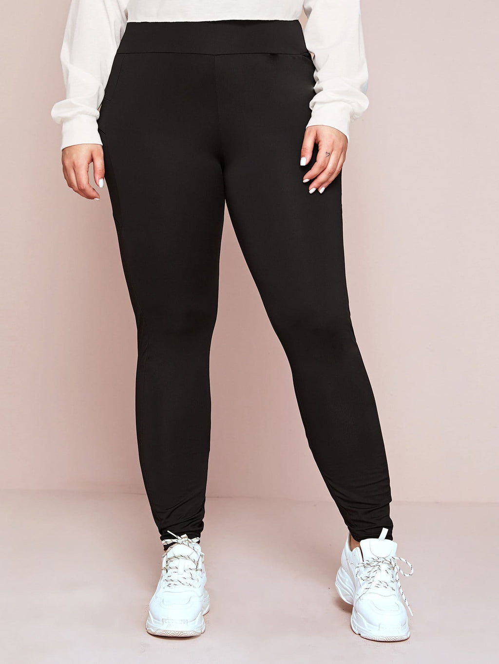 Plus Size Solid Wide Band Skinny Leggings