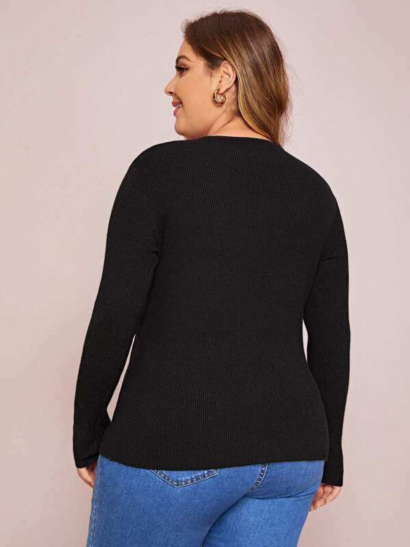 Plus Size Ribbed Knit Strappy Front Sweater Top