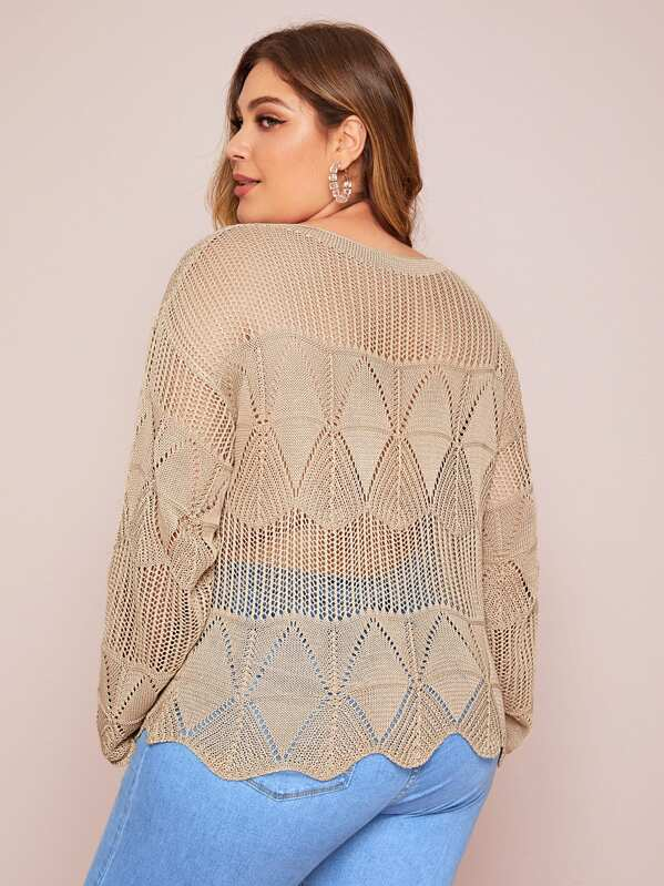 Plus Size Open Knit Seam Wave Hem Sweater