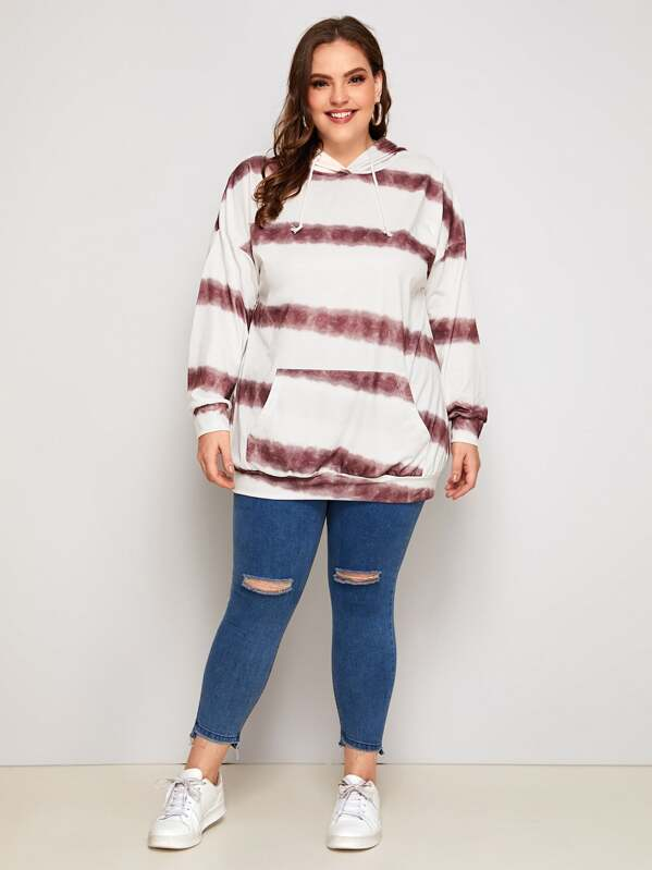 Plus Size Tie Dye Kangaroo Pocket Hoodie Top