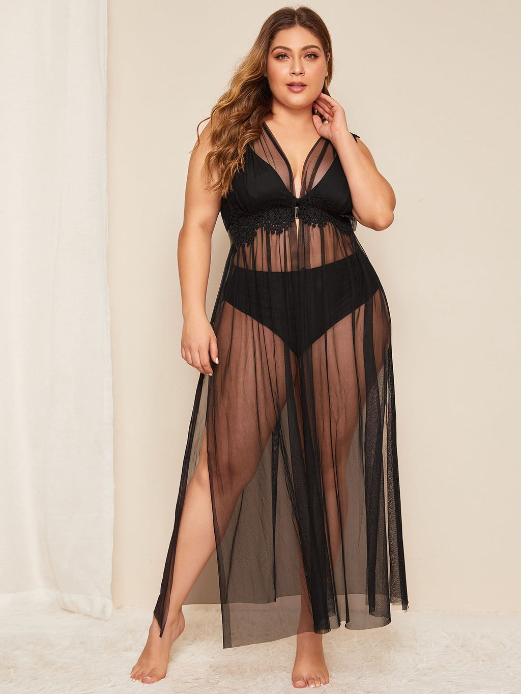 Plus Size Sheer Mesh Robe With Belt & Thong