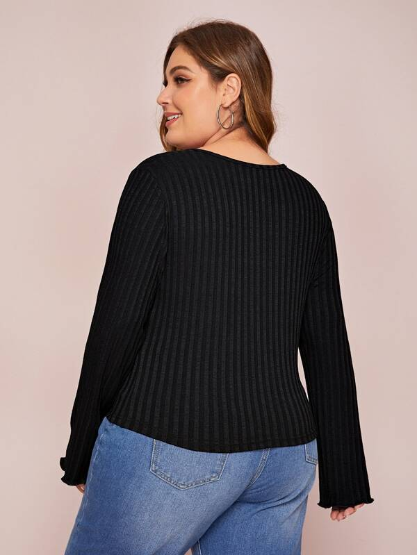Plus Size Half Button Basic Jumper Top