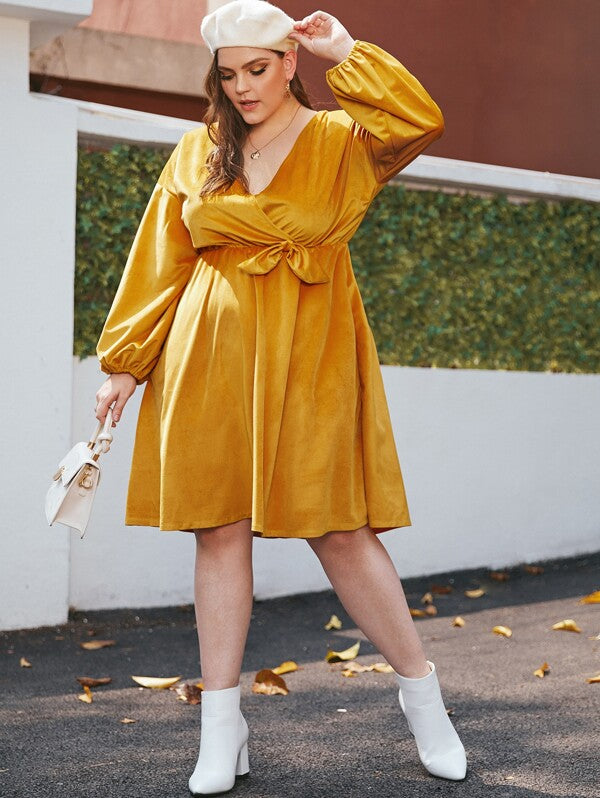 Plus Size Knot Side Corduroy Surplice Dress