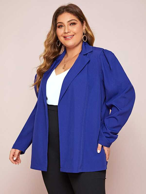 Plus Size Notch Collar Puff Sleeve Self Belted Blazer