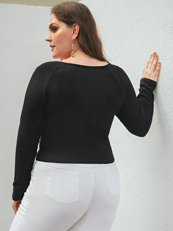 Plus Size Button Front Ribbed Knit Jumper