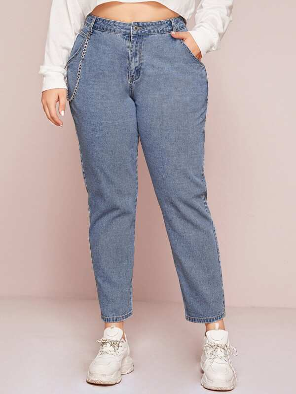 Plus Size Chain Detail Mom Jeans