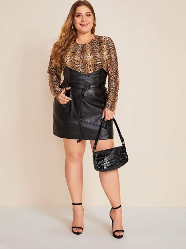 Plus Size Notched Waist Buckle Belted PU Skirt