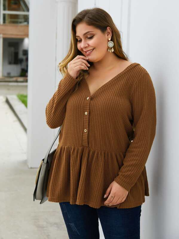 Plus Size Solid Button Front Waffle Knit Peplum Sweater Top