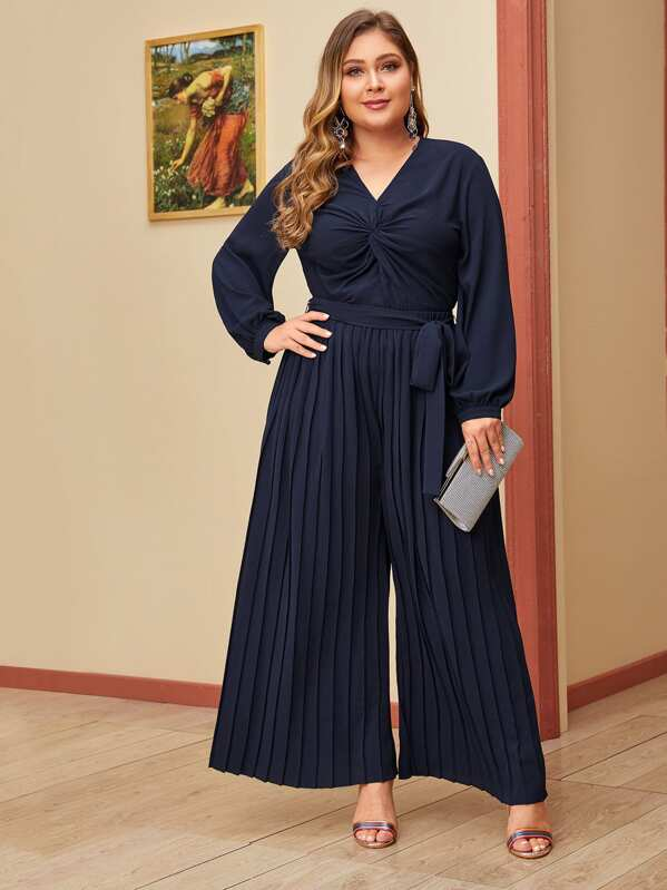 Plus Size Twist Front Top And Pleated Palazzo Pants Set