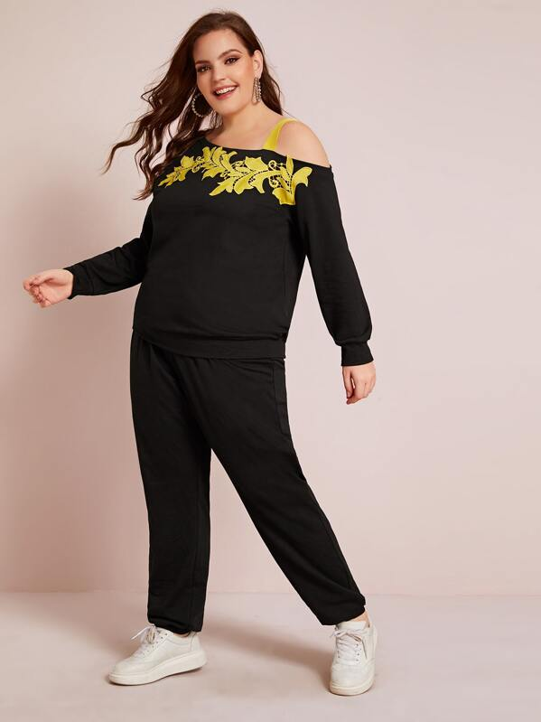 Plus Size Embroidered Applique Sweatshirt Top And Joggers Set