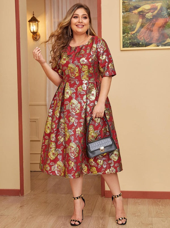 Plus Size Boxy Pleated Hem Jacquard Dress