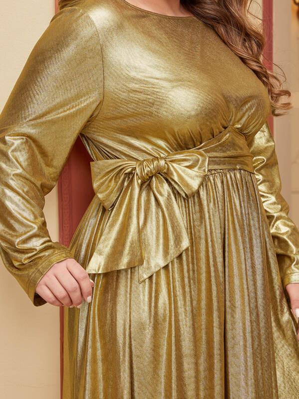 Plus Size Bow Tie Waist Metallic Maxi Dress