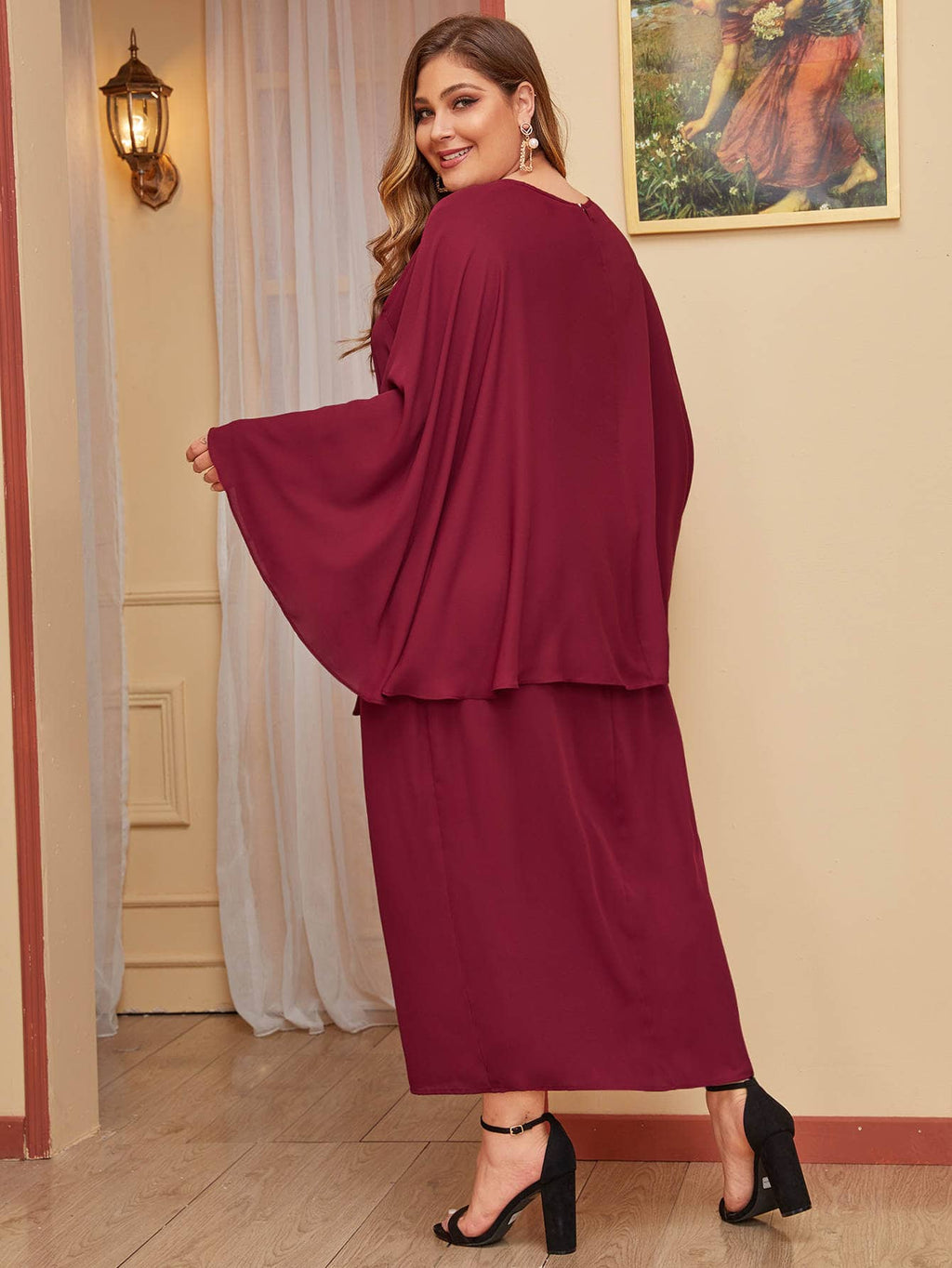 Plus Size Elegant Solid Self Belted Cape Dress