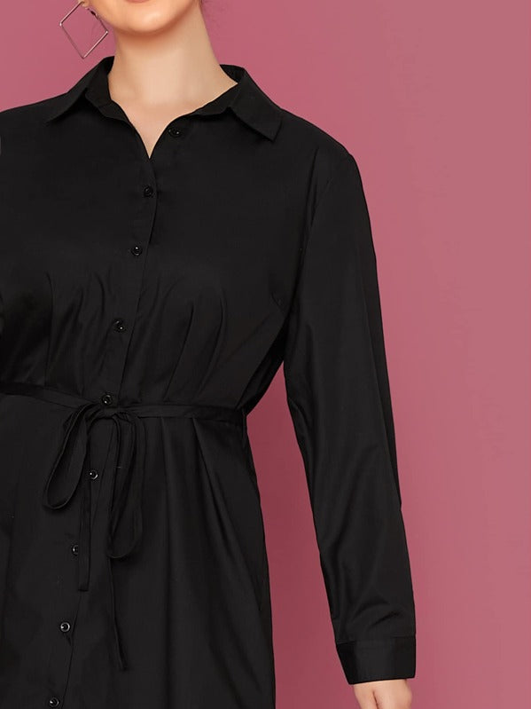 Plus Size Tie Waist Curved Hem Shirt Dress