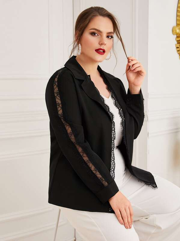 Plus Lace Panel Lapel Collar Blazer Top