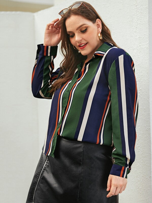 Plus Size Colorful Striped Curved Hem Blouse Top