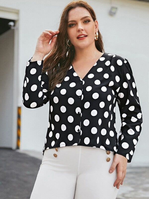 Plus Size Polka Dot Puff Sleeve Blouse Top