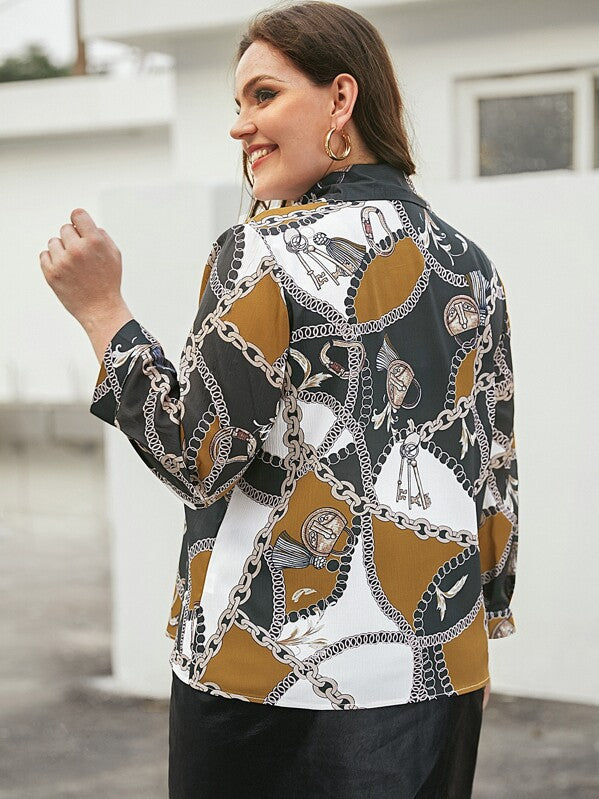 Plus Size Chain Print Button Front Blouse Top