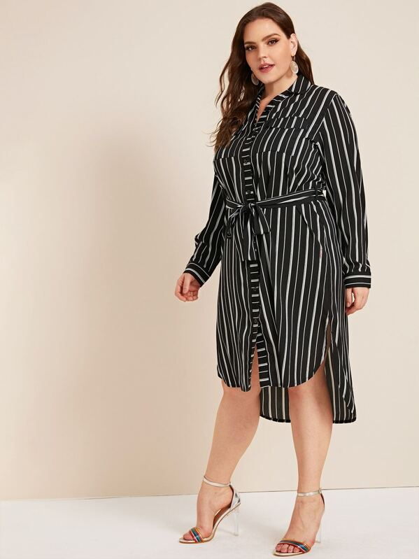 Plus Size Striped High Low Belted Shirt Dress