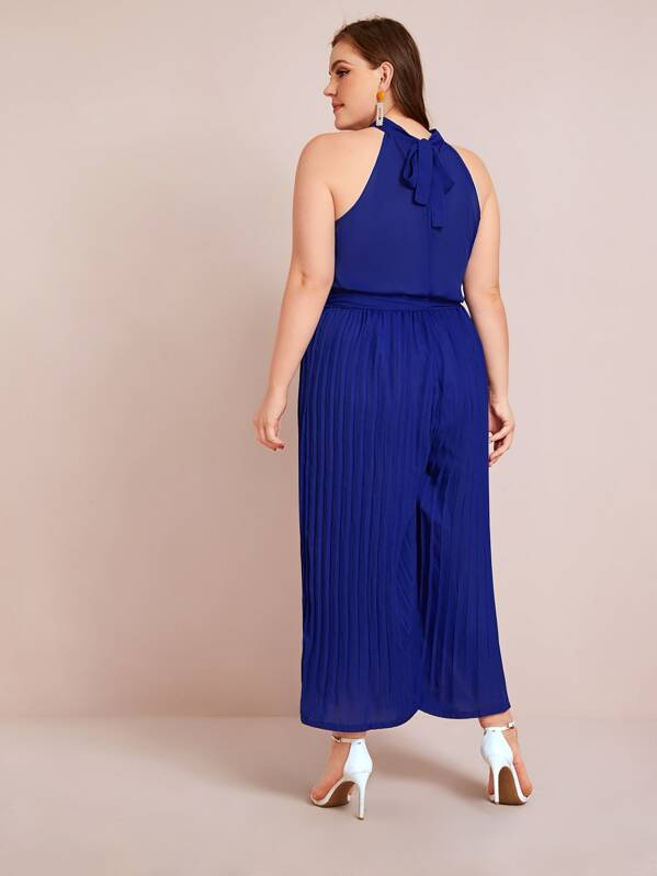 Plus Size Tie Back Pleated Belted Chiffon Halter Jumpsuit