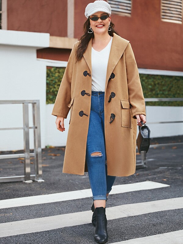 Plus Size Waterfall Collar Dual Pocket Duffle Coat Top