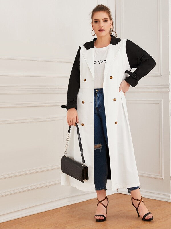 Plus Size Colorblock Double Breasted Buckle Belted Coat Top