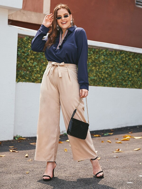Plus Size Solid Tie Front Wide Leg Pants