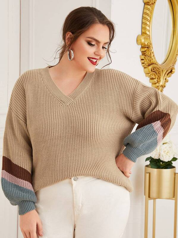 Plus Size Striped Sleeve Ribbed Knit Jumper