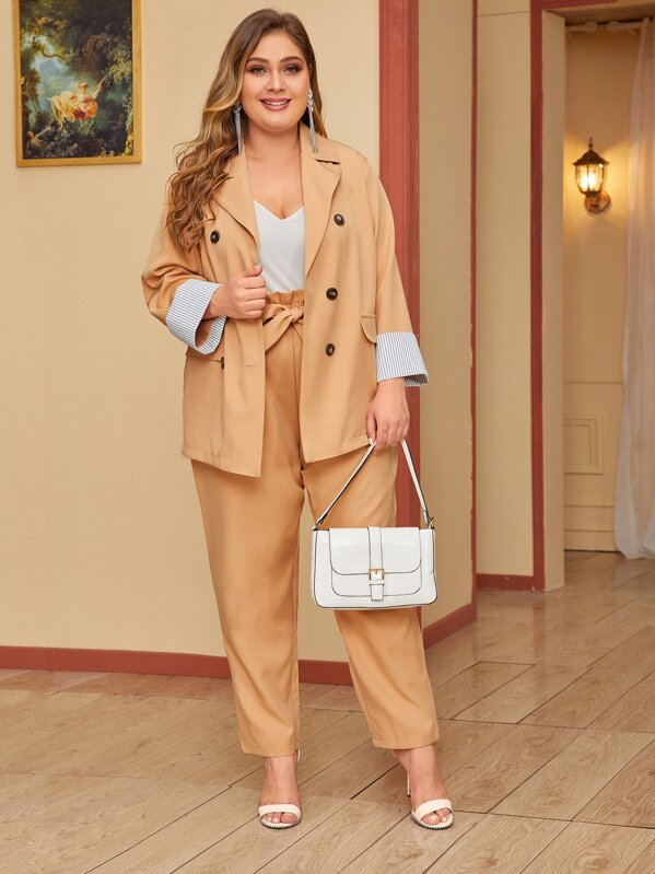 Plus Size Double Breasted Blazer & Paperbag Waist Belted Pants