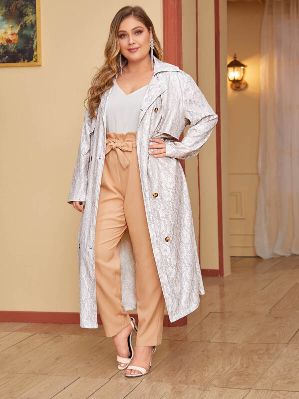Plus Size Floral Lace Belted Trench Coat