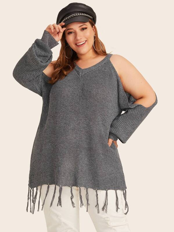 Plus Size Cold Shoulder Fringe Hem Jumper