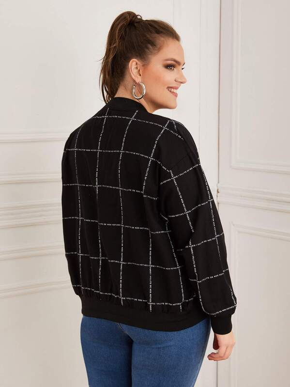 Plus Size Zip Up Plaid Bomber Jacket Top