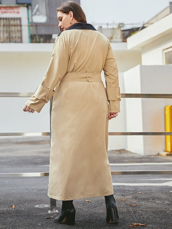 Plus Size Two Tone Belted Trench Coat Top