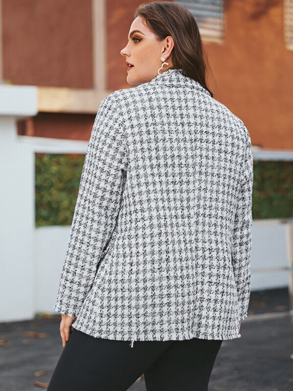 Plus Size Double Breasted Tweed Coat Top