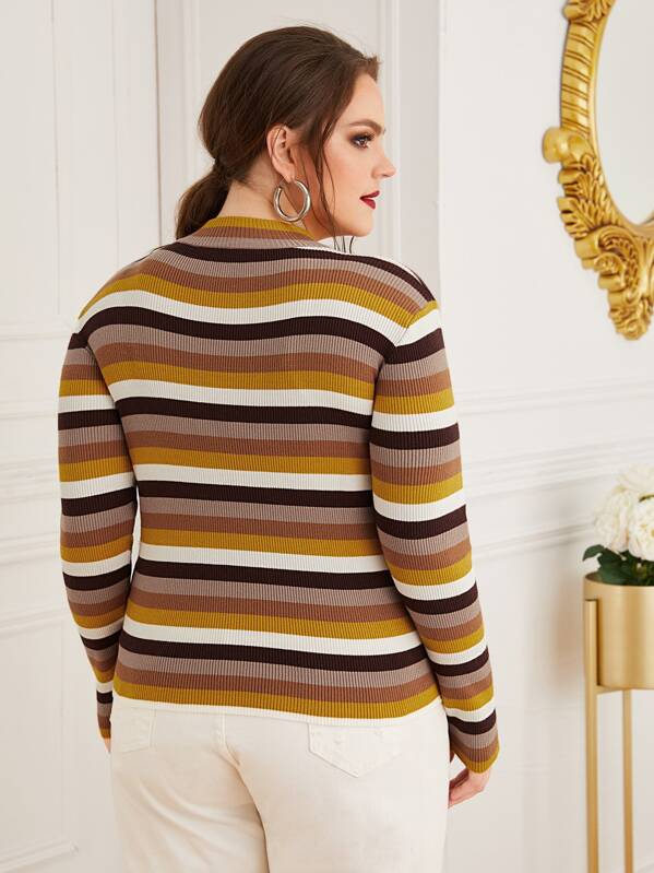 Plus Size Ribbed Knit Stripe Sweater Top