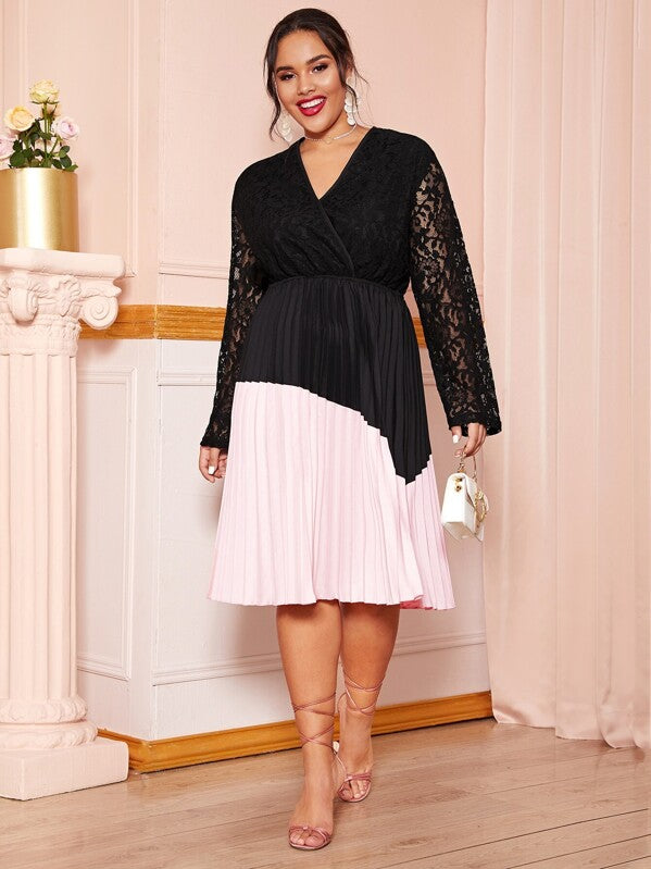Plus Size Two Tone Lace Top Pleated Midi Dress